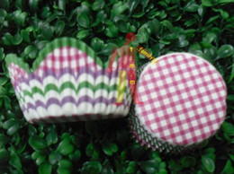 hot pink plaid white pink swirl green petals cupcake liners baking paper cup muffin cases for party