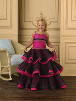 Wholesale 2012 new cute black amp rose organza custom made embroidery bridesmaid dress flower girl dress