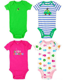 Wholesale 5pcs Pack Baby Boys Girls Short Sleeve Rompers New Born Baby bodysuits Cotton