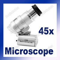 Wholesale Mini x LED Light Glass Pocket Microscope Magnifier Loupe Silver