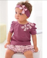 Wholesale AMISSA girls suits baby girls short sleeved purple t shirt ruffle shorts headband hot set suits