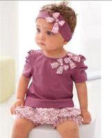 Wholesale AMISSA girls suits baby girls short sleeved purple t shirt ruffle shorts headband pc sets suits