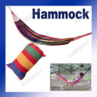 Wholesale Family Camping Camp One Person Canvas Outdoor Leisure Fabric Stripes Hammock Adeal