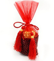 Wholesale High Quality HOT SALE Red Satin Candy Bag favors Candy Box Wedding Favor Boxes sweet bags