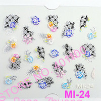 plastic sheet - 24 sheets mix NEW D Japanese Style Nail Art Sticker Decal Stickers Nail Art Decoration MI series