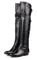 Wholesale Real leather High Boots bootswithhighbucklecuff snow boots Flat boots SIZE