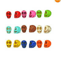 Wholesale Multicolor Turquoise Carved Skull Beads mm