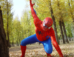 Wholesale hot New Lycra Spandex Super Hero Adult Spiderman zentai Costume S XXL black red spider low price