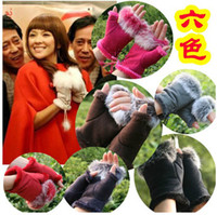 Wholesale Rabbit fur half finger gloves Girl s leather gloves winter mittens warm lovely glove Cheap