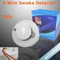 Smoke Detectors Wired smoke detector DC9-16V 100pcs Lot 4 Wire Photoelectronic Smoke Fire Detector for Wired Alarm System AT-608PC-4 by DHL EMS