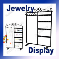 Wholesale New Holes Metal Earring Jewelry Display Rack Stand Holder for Hanging Necklace Black