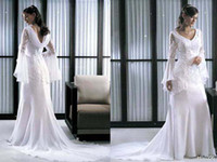 Garden indian wedding dresses - Custom Made Fabulous Lace Bridal Gowns Cathedral Train With Long Sleeves Arabic Indian Wedding Dress