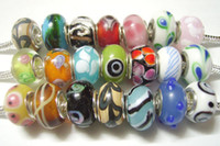 Wholesale 100pcs Mix Style Murano Lampwork Glass European Beads Charm Bracelet Necklace For DIY Craft Jewelry C21