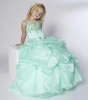 achat en gros de sangles robe verte de fille de fleur-Noël organza vert bretelles perles robe de mariée fille fleur robe de la princesse robe de soirée robe personnalisée 2 4 6 8 10 12 F127003