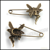 Wholesale 60mm Fairy Safety Pins Brooches Alloy Metal Clothes Brooch Jewelry Accessory