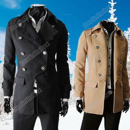 Wholesale Men s Winter fashion Style Double breasted Woolen Blends Parka coat color size