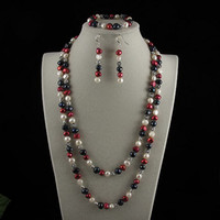 Wholesale pearl jewelry set AA MM Mixes Genuine freshwater pearl flower silver beads A2424