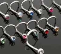Wholesale Fashion Nose Stud with Gem Mixing Color Crystal Nose Studs Ring Body Piercing Jewelry