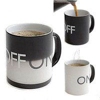 Wholesale 10pcs New Coffee Cup Color Change Mug Porcelain Ceramic Temperature Water Glass On Off Switch bottle
