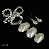 Wholesale pearl jewelry set inchs AA MM White color Genuine freshwater pearl amp Shell A2458