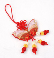 Wholesale Butterfly Car Interior Ornaments Hanging Chinese knot Silk Embroidery Small Crafts mix Free