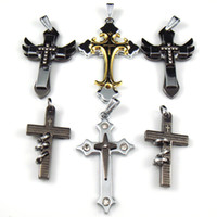 Wholesale Mix Cross pendant men s Jewelry Necklace crystal bead Titanium Stainless Steel NEW style