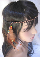 native american - 24pcs Natural Real Feather Native American Indian style Headbands