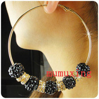 Women's big hoop earrings with balls - 70MM Bling Black Resin Crystal Ball Beads Big Hoops With Rhinestone Earrings Basketball Wives Pair