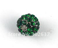 Wholesale 10PCS Dark Green Hip Hop Rhinestone Beads x10mm