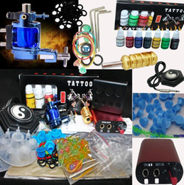 Wholesale Red MIN Power Supply System amp Blue Rotary Tattoo Machine Gun Kit Inks set Ink Cups Accessory