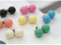 ball earrings unique - Hot New fashion Pretty unique QQ candy ball diamond Earrings Colours Candy Ball Stud Earring