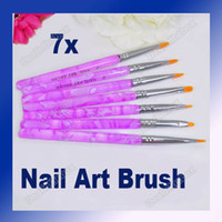 Nail Art Brushes 7 Pcs Plastic 7pcs Flat UV Gel Acrylic Nail Art Builder Painting Brush Pen Design Purple Adeal #1496
