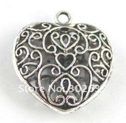 30PCS Tibetan silver filigree spiral heart pendants A15502