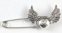 Wholesale 20 Tibetan silver heart wing Safety Pin Brooch A15546