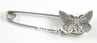 Wholesale 20 Tibetan silver metal butterfly Safety Pin Brooch A15548