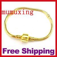 european bracelet - 10PCS Golden Snake Chain European Style Bracelets With Big European Beads DIY Jewelry bracelets