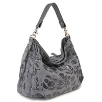 Jade Fox Handbags Grey Black Printing Nubuck Nappa Leather W...
