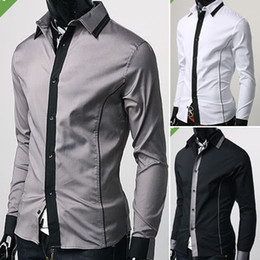 Wholesale Hot Men s Shirts Luxury Casual Slim Fit Stylish Dress Shirts US Size XS S M Colours ST17