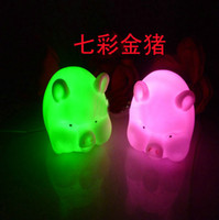 Wholesale New Arrival LED Candle Lights color changing pig Night Light for Part Chirstmas Gift kk