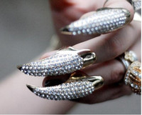 Wholesale Fashion Jewelry Rhinestone Steel Nail Ring Golden Color with gift bag x12