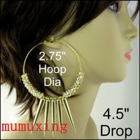 Wholesale 5Pairs quot BASKETBALL WIVES Spiked CLEAR CRYSTAL RONDELLE GOLD HOOP SPIKE Large Earrings
