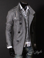 Wholesale hot Fashion Mens Casual Slim Double Breasted PEA Woolen coats coat