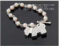 Wholesale Hot Selling Fashions beautiful Puppy dog full diamond pearl beads chain bracelet Dog Silver Bracelet