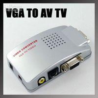 Wholesale piece PC VGA to AV S Video TV Converter Switch Box USB Power