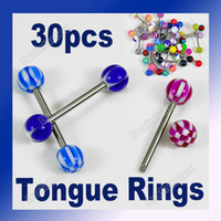 Wholesale 30pcs Tongue Nipple Rings Ball Piercing Barbell Body Jewelry Surgical Steel Acrylic
