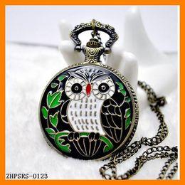 Drop Shipping 12pcs lot Antique Popular OWL pocket watch pendant necklace watches ZHPSRS-0123