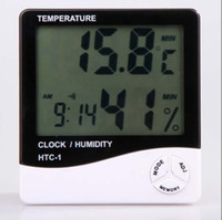 Wholesale Digital LCD Temperature amp Humidity Meter Thermometer Hygrometer HTC Clock White Color
