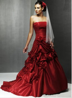 Wholesale Red White Sexy A Line Strapless Floor length Court Fold Taffeta Wedding Dresses Bridal Gowns B