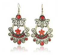 Wholesale victorian style mixed colors metal Fashion Flower earring FE101117