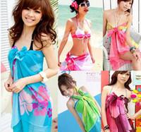 Tie-Dyeing Plain Woven Chiffon Sarong Women's Chiffon Swim Wear Beach scarves Bikinis Colorful random Mix order 10pcs lot